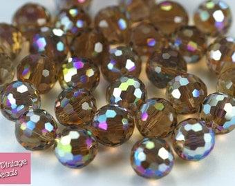 2x Vintage Swarovski Crystal Colorado Topaz AB 5003 Disco Ball Faceted Bead 12mm