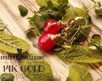 Pink Gold Gemstone Earrings, 14k Gold Dangle Earrings, Hot Pink Gemstone Earrings, Stone Chalcedony Earrings, Jewelry Gift Ideas, Fuscha