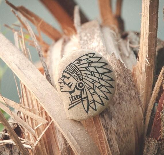 Natural Stone Art : Natural stone injun art aztec western native