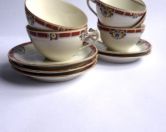 vintage french porcelain  cups and saucers