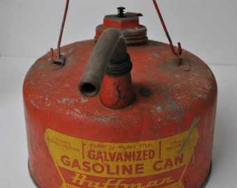 Rare Vintage No.601 F Huffman 1 Gallon Galvanized Gasoline Can