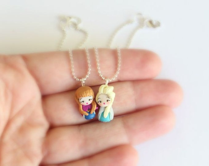 Anna and Elsa necklace inspired. Best friend necklace, Best sister. Frozen jewelry. Disney jewelry. Elsa necklace. Clay charm.Anna necklace.