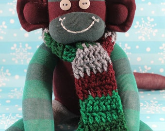 Sock Monkey with Christmas Scarf / Striped / Maroon Red, Green, Grey / Christmas Decoration / Christmas Gift / Holiday Decor / Holiday Gift