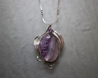 Lullaby - Sterling silver fluorite amethyst pendant