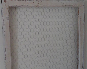Large Vintage window frame with chicken wire