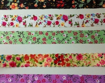 Flower Fabric Tape Samples 5 x 50 cm. / 5 x 19,6 Inches - FREE Shipping With Other Purchase