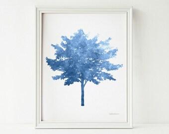 Blue Tree art print, Blue wall art PRINTABLE art, Blue art print Tree decor, Nature art Blue wall print Blue home decor Blue and white decor