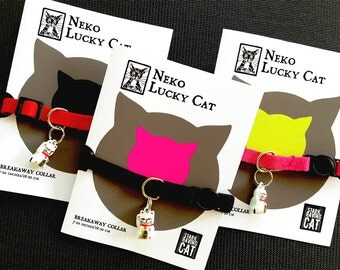 Neko Lucky Cat Bell and Breakaway Cat Collar