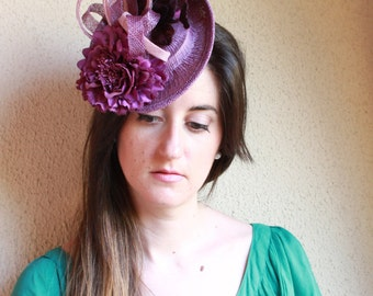Purple Fascinator Hat,Ascot Hat, Melbourne Hat,Race Hat,Purple Headdress,Sinamay Purple Headpiece,Flower Fascinator,Wedding Hat,Guest Hat