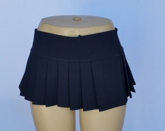 Solid Black Spandex Micro Mini Skirt (OPENS / CLOSES with hook and loop fasteners strip)