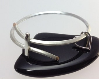 SOLD - Charm bangle in recycled sterling silver with 9ct recycled gold tips