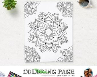 floral coloring page printable art mandala adult coloring book antistress coloring art therapy instant download zen digital art coloring - Art Therapy Coloring Pages Mandala