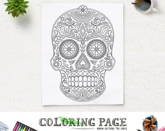 Halloween Party Coloring Page Printable Tribal Skull Pages Instant Download Digital Art Holiday