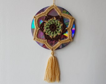 15% OFF - Crochet Mandala Suncatcher - Double Sided Sun Catcher Mobile - Recycled/Upcycled CD - Window Decor - Crocheted Doily Ornament
