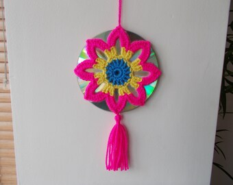 15% OFF - Crochet Mandala Suncatcher - Double Sided Sun Catcher Mobile - Repurposed/Upcycled CD - Window Decor - Crocheted Doily Ornament