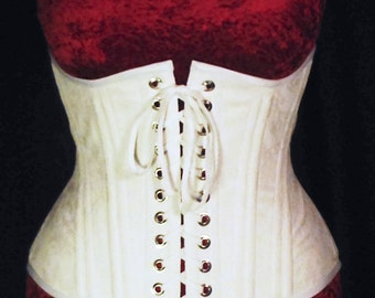 White Underbust Training Corset Front Lacing