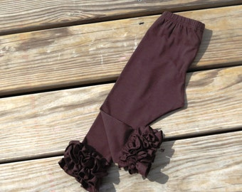 RUFFLE leggings,Brown ruffle leggings,Fall  leggings,toddler ruffle leggings,girls knit pants,Double ruffle leggings ,baby ruffle leggings
