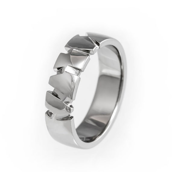 Modern Mens Wedding Band Textured Wedding Ring Unique Mens