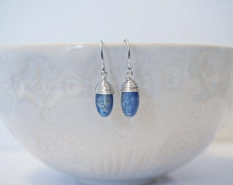 Silver Wire Wrapped Kyanite Blue Stone Earrings