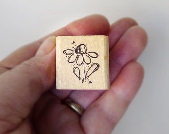 Echinacea Flower Rubber Stamp, Cartoon Flower Rubber Stamp for Scrapbook Wrapping Paper Gift Tags Greeting Cards, Small Shape for Gifts