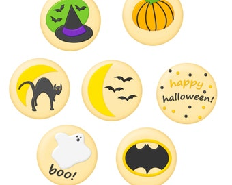 Commercial Use Instant Download Halloween Sugar Cookie Clipart for DIY printable cards, invites, flyers, notes