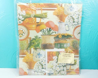 Vintage Package of Floral Wrapping Paper with Gift Cards, Current Plants N Pottery Wrap Ups, Floral All Occasion Gift Wrap