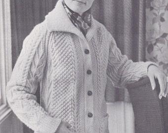 PDF  womens aran cable cardigan jacket sizes vintage knitting pattern pdf INSTANT download sweater pattern only pdf
