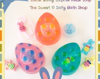 Easter Egg Jellybean Scented Soap with Surprise Necklace or Bunny Figurine Inside