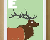 alphabet letter E, elk, custom colors, children's letter art, letter print, nursery decor, kids initials, 4X6, 5X7, 8X10