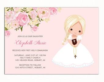 Girl First Communion Invitation, Invitacion Primera Comunión, Printable 1st Communion Invitation, Pink First Holy Communion Invitation