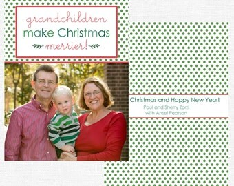Grandchildren Make Christmas Merrier Christmas Cards-FREE SHIPPING or DIY printable