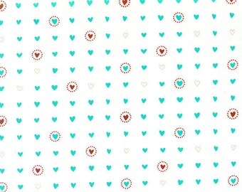 Lil Red Fabric - Red and Turquoise Blue Hearts on White