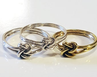 Double knot ring, promise ring, double love knot ring, knot ring, companion ring, hand fasting ring, hand fasting, silver, plus size
