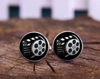 Film Reel Cufflinks, Movie Machine Cuff Links, Hooray For Hollywood, Motion Picture Film, Movie Reel Clip Cuff Links, Personalized Cufflinks