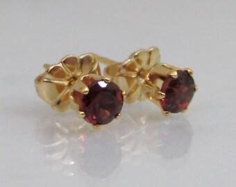Gold Garnet Post Earrings, Garnet Stud Earrings, 4mm Garnet Gemstone, January Birthstone Earrings, 14K Gold Filled, Bride, Wedding Jewelry