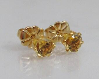 Petite Citrine Post Earrings, 14K Gold Filled Stud Earrings, 4mm Golden Citrine Gemstone, November Birthstone Jewelry, Bride Earrings