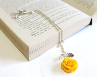 Yellow rose necklace etsy yellow rose necklace yellow pendant personalized initial disc necklace rose charm bridesmaid mozeypictures Images
