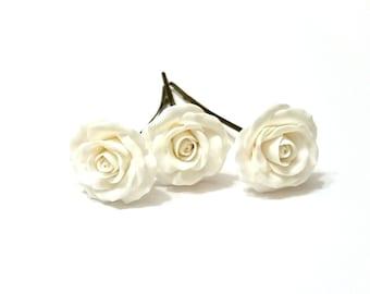 White Roses Hair pins, White Roses hairpins, Woodland, White Flower, Wedding, Wedding Hair Accessories, White Roses Bridesmaid Hair Set