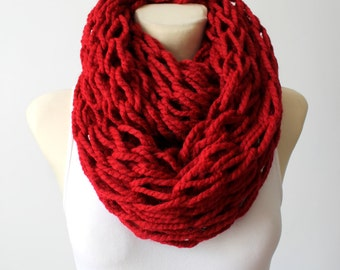 Cranberry Knit Scarf Knit Infinity Scarf Chunky Knit Scarf Oversized Knitting Gift for Her Womens Gift Christmas Celebrations Gift for Mom