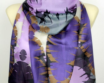 Purple Silk Scarf Printed Silk Scarf Geometric Silk Scarf Gift for her Gift Women Summer Outdoors Summer Party Womens Summer Accessories