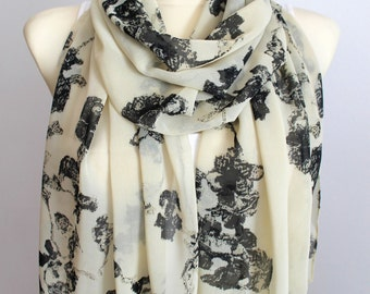 Unique Women Scarf - Printed Boho Scarf - Designer Scarf - Foral Fabric Scarf - Fashion Accessories - Gift Ideas for Her - Fall Celebrations