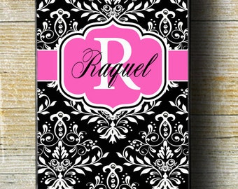 Pink iPhone phone case, pink case, black iphone case, damask iphone 5 case, iphone 6 plus case, iphone 6 case,