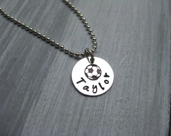 Soccer Necklace Personalized Jewelry Soccer Ball Sterling Silver Hand Stamped Name Necklace Soccer Player Gift Coach Gift Soccer Jewelry