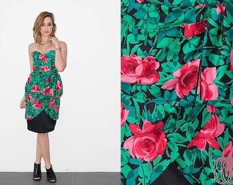 vintage 80s rose print dress vintage 1980s aj bari floral print strapless dress with sweatheart bodice