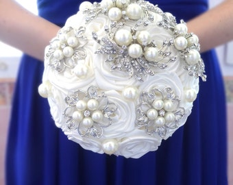 Bridesmaids small brooch bouquet, silver jeweled