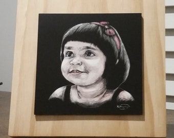 40% Discounted SCRATCHART* Original handmade custom portrait 5''*5''