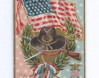 """Patriotic GAR """"To My Comrade"""" Memorial Day Postcard  ca. 1910"""