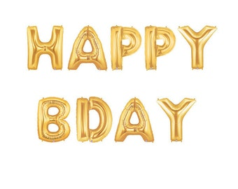 Happy Bday Letter Balloons, Happy Birthday Balloons, Birthday Balloons, Bday Party Balloons, Gold Party Balloons, Metallic Gold Balloons