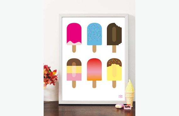 Affiche yummy glace esquimau color kawaii enfants d coration for Glace murale decorative