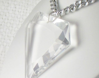Vintage 60's Mod Huge Faceted Glass Triangle Pendant Necklace Big Glass Pendant Necklace on Aluminum Chain